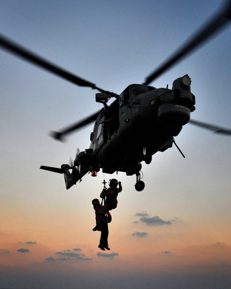 HMS Montrose conducts Rapid Roping and Winch Training